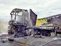 Под Троицком сгорел грузовик